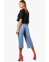 Boohoo Blue Scallop Waist Wide Leg Denim Culottes
