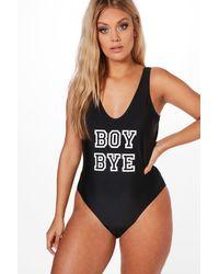 Boohoo - Black Plus Olivia 'boy Bye' Slogan Swimsuit - Lyst