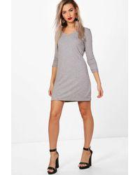 Boohoo Gray V Neck T-shirt Shift Dress