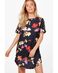 Boohoo - Blue Alana Curved Hem Floral Shift Dress - Lyst