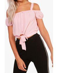 Boohoo Pink Cold Shoulder Tie Crop