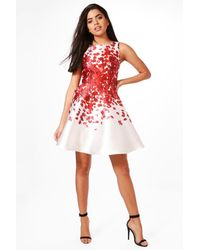 Boohoo - Red Beth Sateen Floral Print Skater Dress - Lyst