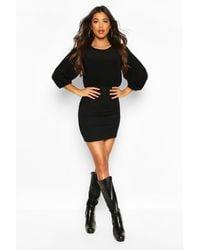 Boohoo Black Tie Back Feature Sleeve Blouse Top Dress