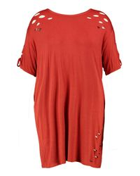 Boohoo | Red Plus Louise Lace Up Shoulder Oversized T-shirt Dress | Lyst