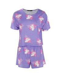 Boohoo - Purple Daisy Unicorn Short + Tee Pj Set - Lyst