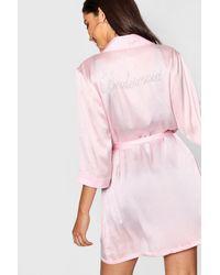 Boohoo Pink Diamante 'bridesmaid' Satin Robe