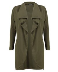 Boohoo Green Petite Hannah Ponte Wrap Front Duster Jacket