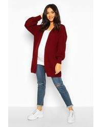 Boohoo Red Womens Maternity Bell Sleeve Knitted Cardigan