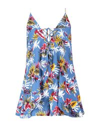 Boohoo - Blue Petite Palm Print Open Back Woven Playsuit - Lyst