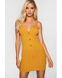 e738e718fdcc Boohoo Button Front Rib Knit Dress in Yellow - Lyst
