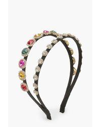 Boohoo Multicolor Womens Premium Double Row Jewel Headband - Multi - One Size