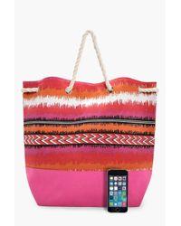 Boohoo Pink Sarah Aztec Duffle Beach Bag