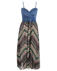 Boohoo Blue Cally Contrast Woven Denim Bralet Dress