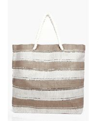 Boohoo Natural Isabella Lurex Striped Beach Bag
