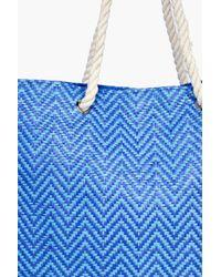 Boohoo - Blue Esme Straw Weave Beach Bag - Lyst