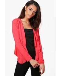 Boohoo Pink Alison Lightweight Waterfall Chiffon Jersey Jacket