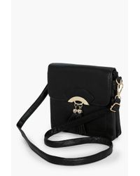 Boohoo Black Olivia Double Tassel Cross Body Bag