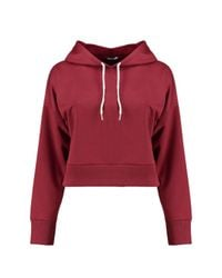 Boohoo Red Hailey Cropped Hooded Sweat
