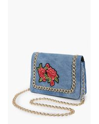 Boohoo - Blue Lydia Embroidered Chain Cross Body Bag - Lyst