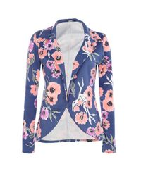 Boohoo Blue Mia Floral Tailored Blazer