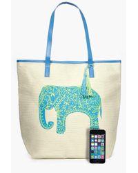 Boohoo Blue Nadia Elephant Straw Beach Bag