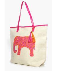 Boohoo Pink Nadia Elephant Straw Beach Bag