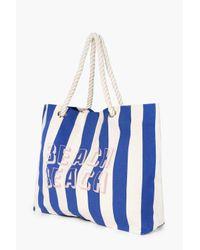 Boohoo Blue Nina Slogan Rope Handle Beach Bag