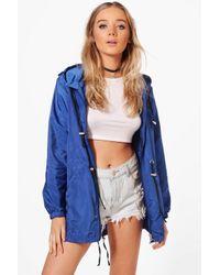 Boohoo Blue Karina Zip Through Hooded Rain Mac