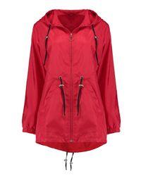 Boohoo Red Karina Zip Through Hooded Rain Mac