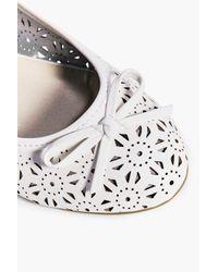 Boohoo White Maisie Lazer Cut Bow Ballet