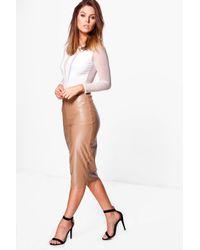 Boohoo   Multicolor Orla Seamed Leather Look High Waist Midi Skirt   Lyst