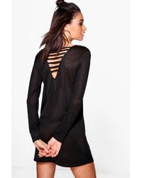 Boohoo | Black Maria Strappy Back Knitted Dress | Lyst