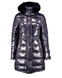 Boohoo Gray Lexi Wet Look Padded Coat