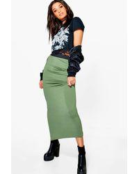 Boohoo Green Helena Contrast Waistband Jersey Maxi Skirt