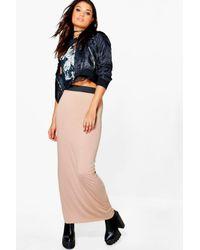 Boohoo Multicolor Helena Contrast Waistband Jersey Maxi Skirt