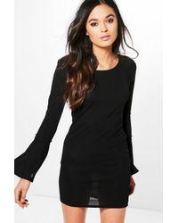 Boohoo Black Phoebe Tie Flute Sleeve Knitted Dress