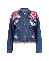 Boohoo Blue Boutique Lea Embroidered Pom Pom Denim Jacket