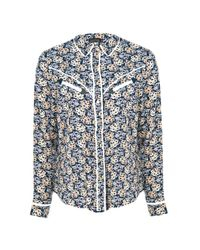 Boohoo Multicolor Heather Ditsy Floral Contrast Piping Western Shirt