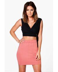 Boohoo Pink Lia Stitch Detail Mini Skirt