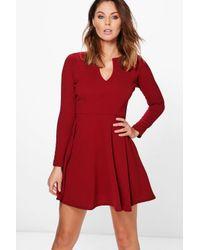 Boohoo | Red Rebecca Long Sleeve Skater Dress | Lyst