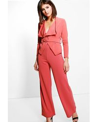 Boohoo Red Amelie Stretch Trouser