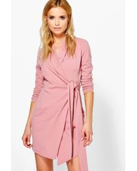 Boohoo - Pink Nancy Side Tie Tailored Blazer Dress - Lyst