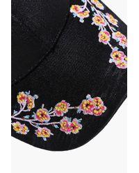 Boohoo Black Evelyn Embroidered Satin Baseball Cap for men