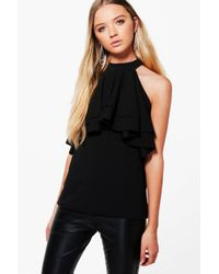 Boohoo | Black Hillary High Neck Double Frill Top | Lyst