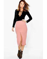 Boohoo Pink Harper Crepe Front Split Midi Skirt