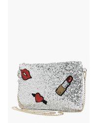 Boohoo Metallic Scarlet Sequin Patch Detail Clutch Bag