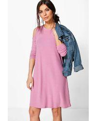 Boohoo Pink Lily Cold Shoulder Soft Knit Rib Swing Dress