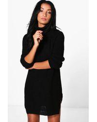 Boohoo Black Ava Roll Neck Soft Knit Jumper Dress