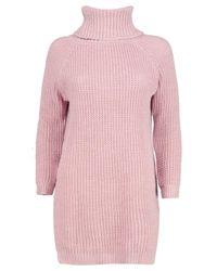 Boohoo Pink Ava Roll Neck Soft Knit Jumper Dress