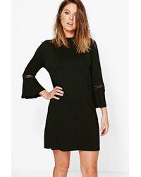 Boohoo | Black Morris Crochet Trim Flute Sleeve Shift Dress | Lyst